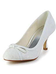 Women's Fall Lace Wedding Stiletto Heel Bowknot Ivory White