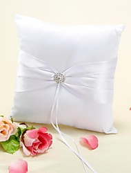 Ring Pillow In White Satin With Rhinestone