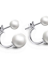 cheap -Pearl Drop Earrings - Sterling Silver, Silver White For