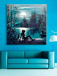 cheap -E-HOME® Stretched LED Canvas Print Art The Moon Lake Flash Effect LED Flashing Optical Fiber Print