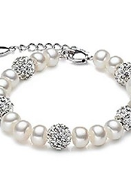 Fashionable Natrural Pearl Bracelet With Diamante Crystal Ball