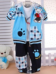 cheap -Spring Autumn Boy Three-piece Suits Lovely Bear Infant Long-sleeved Plaid Hooded Coat T-shirt Pants