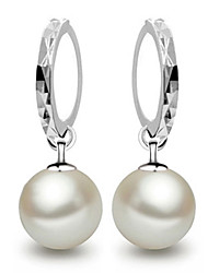 cheap -Women's Drop Earrings / Hoop Earrings - Pearl, Sterling Silver Ball Elegant, Bridal Pearl White / Screen Color For Wedding / Party / Gift
