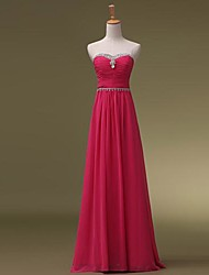 cheap -A-Line Sweetheart Neckline Floor Length Chiffon Bridesmaid Dress with Beading / Ruched by LAN TING BRIDE®