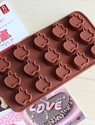 15 buracos moldes forma de maçã bolo de gelo geléia de chocolate, silicone 15 × 14,5 × 1,5 centímetros (6,0 × 5,8 × 0,6 polegadas)