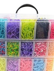 12000pcs colorati diy colore dell'arcobaleno stile telaio braccialetti fascia in silicone 12000pcsbands, 12s-clip, 1 telai, 1hook + 1box