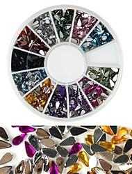 Недорогие -600pcs цвет 12 падение алмаз в форме ногтей искусство украшения