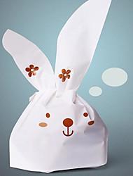 economico -50pcs carino bianco biscotto coniglio panificio caramelle biscotti regalo gioielli di plastica decorazioni della festa imballaggio cerimonia nuziale