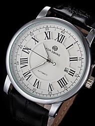 FORSINING Pánské Náramkové hodinky mechanické hodinky Automatické natahování Kalendář Kůže Kapela Luxusní Černá Bílá Černá