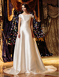 cheap -A-Line Princess Bateau Neck Court Train Satin Wedding Dress with Button by LAN TING BRIDE®