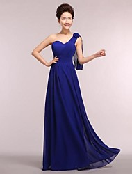 cheap -A-Line One Shoulder Floor Length Chiffon Bridesmaid Dress with by LAN TING Express