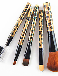cheap -5PCS Nylon Hair Golden Leopard Design Handle Cosmetic Makeup Brush Set