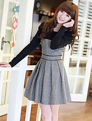 baratos -bonito vestido cor de contraste de Leto mulheres