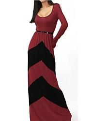 baratos -Mulheres Moda de Rua Bainha Vestido - Patchwork, Estampa Colorida