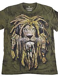 お買い得  -男性用 Tシャツ ベーシック ラウンドネック 動物 コットン