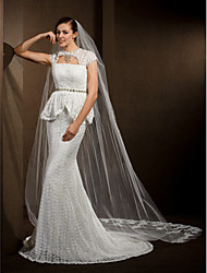 cheap -One-tier Lace Applique Edge Wedding Veil Cathedral Veils With 118.11 in (300cm) Tulle