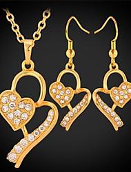Недорогие -u7®heart ожерелье серьги 18k реальное золото платина покрытием серьги падения ожерелье набор ювелирных изделий