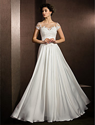 cheap -A-Line Scoop Neck Floor Length Satin Chiffon Wedding Dress with Beading Appliques by LAN TING BRIDE®