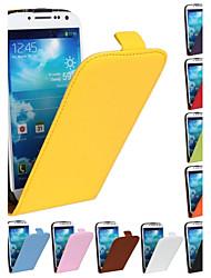 abordables -Coque Pour Samsung Galaxy Samsung Galaxy Coque Clapet Coque Intégrale Couleur Pleine faux cuir pour S4