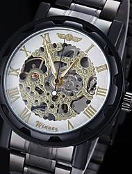 economico -WINNER Da uomo Orologio da polso orologio meccanico Meccanico a carica manuale Orologi con incisioni Acciaio inossidabile Banda NeroOro
