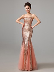 Mermaid / Trumpet Strapless Floor Length Sequined Formal Evening Dress with Sequins by CHQY