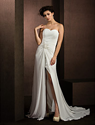 A-Line Sweetheart Court Train Chiffon Wedding Dress with Beading Appliques Criss-Cross by LAN TING BRIDE®