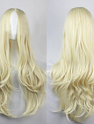 cheap -The new European and American High-Temperature Wire Carved Cream Long Curly Wig 80CM