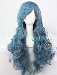 cheap -Synthetic Wig Curly Asymmetrical Haircut Synthetic Hair Natural Hairline Blue Wig Women's Long Cosplay Wig / Halloween Wig Capless Party