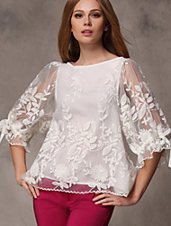 cheap -Women's Lantern Sleeve Flare Sleeve Polyester Blouse - Solid, Bow Mesh