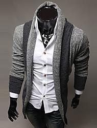 Недорогие -Для мужчин На каждый день Обычный Кардиган Полоски Длинный рукав Шерсть Хлопок
