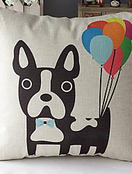 Недорогие -современный стиль мультфильм собака с воздушными шарами с рисунком хлопок / лен декоративная подушка крышка