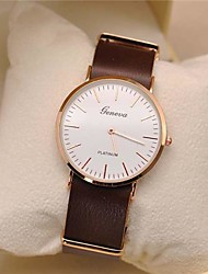Men's  Leather Circular Quartz Watch Geneva Watch High Quality Japanese Quartz Movement Watches (Assorted Colors) Wrist Watch Cool Watch Unique Watch