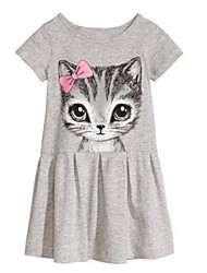 cheap -Girl's Dress, Cotton Spring Summer Fall Short Sleeves Floral Cartoon Gray Pink