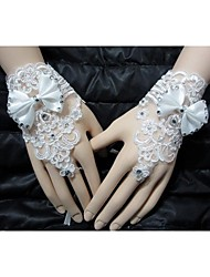 cheap -Wrist Length Glove Bridal Gloves Party/ Evening Gloves With Rhinestone Bow