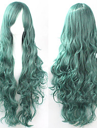 cheap -The new European and American high-temperature  Wire Green Long Curly Hair Wig80CM