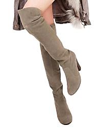 povoljno -Žene Cipele Eko brušena koža Jesen Zima spušten čizme Kockasta potpetica 50.8 cm ili više Čizme preko koljena za Formalne prilike Grey
