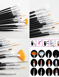 cheap -15PCS Black  Nail Art Design Painting Drawing Pen Brush Set Wood Handle Acrylic Brush