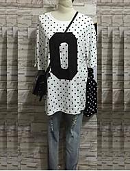 婦人向け カジュアル/普段着 オールシーズン Tシャツ,シンプル プリント ホワイト / ブラック / グレイ コットン 半袖 薄手