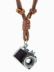 cheap -Long Statement Necklace / Lockets Necklace / Vintage Necklace - Leather Camera Vintage, European, Simple Style Black, Brown Necklace For Party, Daily, Casual / Pendant / Pendant