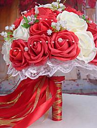 un bouquet di 30 rose pe simulazione wedding bouquet di nozze della sposa azienda fiori, bianchi e rossi