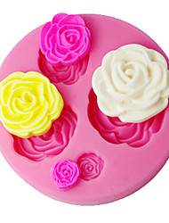 baratos -quatro c fondant decoração molde 3d aumentou decoração do bolo suprimentos cor-de-rosa sm-018