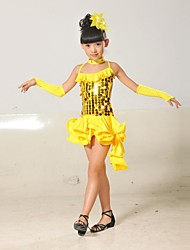 Shall We Latin Dance Children Polyester/Lycra Sequins Tassel Outfit(Red/Black/Blue/Yellow) Kids Dance Costumes