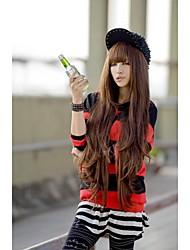 abordables -Perruque Synthétique Bouclé Partie médiane Cheveux Synthétiques Ligne de Cheveux Naturelle Marron Perruque Femme Long Sans bonnet