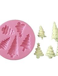 3d fondant silicone decoração do bolo do molde da árvore de natal de molde de silicone