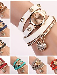 cheap -Women's Bracelet Watch Hot Sale Leather Band Sparkle / Heart shape / Fashion Black / White / Blue / One Year / Jinli 377
