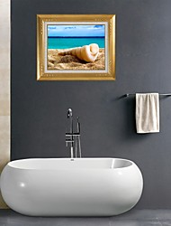 abordables -3d Stickers muraux stickers muraux, plage conque Bathroom Wall décoration murale PVC autocollants