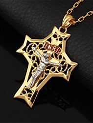 cheap -U7® Crucifix Cool Big Size INRI Cross Pendant Choker Necklace for Men Hollow 18K Gold Plated Fashion Jewelry