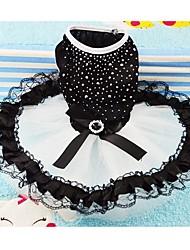 Chien Robe Vêtements pour Chien Mariage Cristal / Stras Noir Costume Pour les animaux domestiques