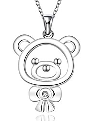 cheap -Fine Jewelry 925 Sterling Silver Jewelry Cute Mini Bear with Zircon Pendant Necklace for Women