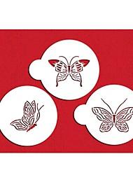 Four-C di plastica stencil set top decorare per il colore torta tazza bianca, 3pcs / set st-569